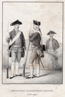 Историческое описание одежды и вооружения российских войск... А. В. Висковатова. Мушкетёры гвардейских полков 1762 года (лист 408)