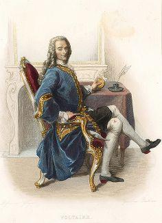 Вольтер (1694-1778) - знаменитый философ-просветитель, литератор и историк. Лист из серии Le Plutarque francais..., Париж, 1844-47 гг.