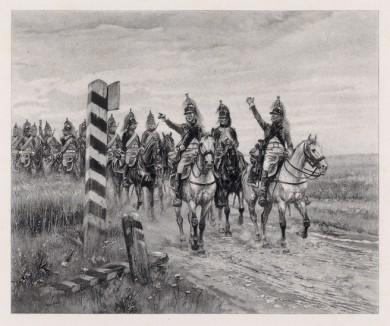 """За границу! (кавалеристы 4-го драгунского полка в 1806 году) (иллюстрация к известной работе """"Кавалерия Наполеона"""", изданной в Париже в 1895 году)"""