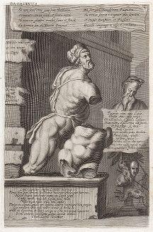 Пасквинская статуя в Риме - Менелай, несущий тело Патрокла. Лист из Sculpturae veteris admiranda ... Иоахима фон Зандрарта, Нюрнберг, 1680 год.