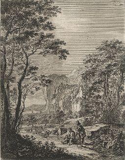 """Пейзаж с повозкой и портом вдали (неподалеку от Анконы). Офорт Яна Бота из сюиты """"Итальянские пейзажи"""", ок. 1640-50 гг."""