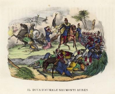 Битва французов под командованием герцога Омальского с бедуинами в горах Аурес (иллюстрация к L'Africa francese... - хронике французских колониальных захватов в Северной Африке, изданной во Флоренции в 1846 году)