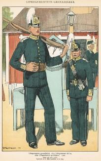 Гренадеры шведской лейб-гвардии в униформе образца 1893-1900 гг. Svenska arméns munderingar 1680-1905. Стокгольм, 1911