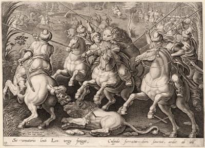 Так лев терзает спину медлящего охотника, когда он ранен железным копьем, и ярится от гнева (Venationes Ferarum, Avium, Piscium, лист 17)