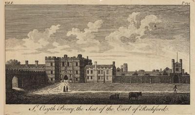 Монастырь Святой Оситы в Эссексе (собственность графа Рошфорда) (из A New Display Of The Beauties Of England... Лондон. 1776 год. Том 1. Лист 191)