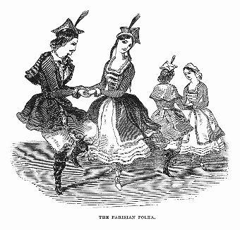 Парижская полька -- быстрый, живой среднеевропейский танец, а также жанр танцевальной музыки, зародившийся в Богемии в середине XIX века и в это же время получивший широкую популярность во Франции (The Illustrated London News №99 от 23/03/1844 г.)