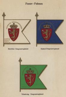 Полковые знамёна норвежской кавалерии (драгунских полков) (из работы Den Norske haer. Organisasjon bevaebning, og uniformsbeskrivelse, изданной в Лейпциге в 1932 году)