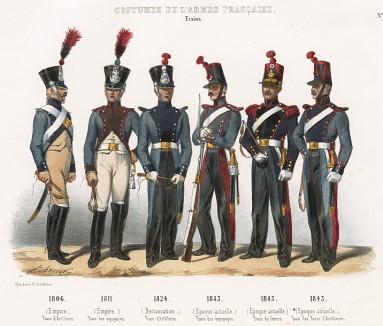 Униформа французских частей снабжения с 1806 по 1843 гг. Costumes de l'armée française depuis Louis XIV, jusqu'à nos jours, л.43. Париж, 1841