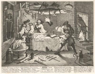 Гудибрас, 1725-26. Гудибрас избивает Сидрофела и его слугу Вэкума. Мечтающий жениться на богатой вдовушке, Гудибрас становится жертвой шарлатана астролога и приходит ему отомстить. Лондон, 1838