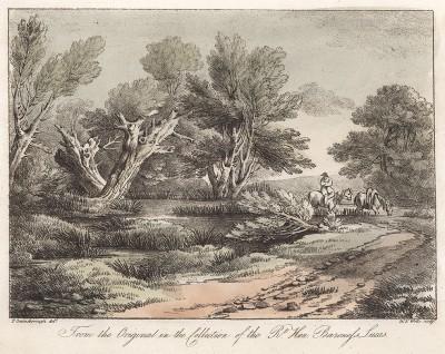 Пейзаж с лошадками. Гравюра с рисунка знаменитого английского пейзажиста Томаса Гейнсборо из коллекции  британского мецената Т. Монро. A Collection of Prints ...of Tho. Gainsborough, Лондон, 1819.