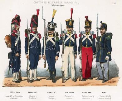 Униформа французской лёгкой пехоты с 1789 по 1841 гг. Costumes de l'armée française depuis Louis XIV, jusqu'à nos jours, л.26. Париж, 1841