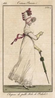 Ветреная погода только подчёркивает свободный, летящий крой платья с высокой талией. Из первого французского журнала мод эпохи ампир Journal des dames et des modes, Париж, 1813. Модель № 1342
