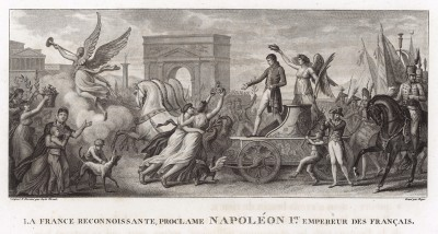 2 декабря 1804 года. Благодарная Франция провозглашает Наполеона Бонапарта императором. Tableaux historiques des campagnes d'Italie depuis l'аn IV jusqu'á la bataille de Marengo. Париж, 1807