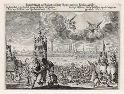 Битва Навуходоносора и Арфаксада за город Экбатаны (из Biblisches Engel- und Kunstwerk -- шедевра германского барокко. Гравировал неподражаемый Иоганн Ульрих Краусс в Аугсбурге в 1694 году)