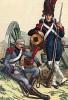 Обозник и канонир французской гвардейской артиллерии  в униформе 1806-14 гг. у орудия. Коллекция Роберта фон Арнольди. Германия, 1911-28