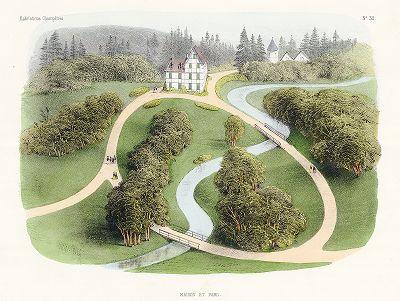 Усадьба с парком. Habitations Champêtres..., Париж, 1855 год