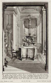 Маленькая столовая с фонтаном. Johann Jacob Schueblers Beylag zur Ersten Ausgab seines vorhabenden Wercks. Нюрнберг, 1730