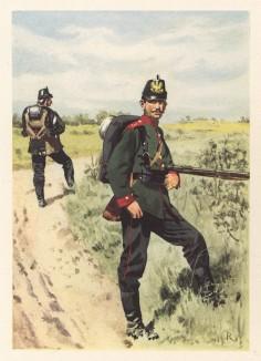 Солдат 3-го Бранденбургского егерского батальона прусской гвардии в полевой форме образца 1890-х гг. (из популярной в нацистской Германии работы Мартина Лезиуса Das Ehrenkleid des Soldaten... Берлин. 1936 год)