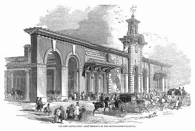 """Конечная станция британской Юго-Восточной железной дороги в Лондоне под названием """"Бриклейерс армс"""", построенная в 1844 году талантливым английским инженером Льюисом Кабиттом (1799 -- 1883 гг.) (The Illustrated London News №105 от 04/05/1844 г.)"""