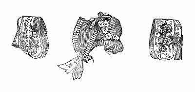 Элегантные дамские шляпки, изготовленные из тюля или шёлка -- парижская мода, май 1844 года (The Illustrated London News №104 от 27/04/1844 г.)