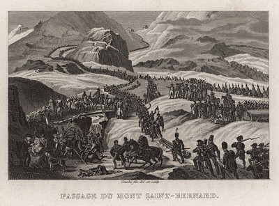 Переход армии генерала Бонапарта через перевал Сен-Бернар 21 мая 1800 г. J.-M. de Norvins, Histoire de Napoleon, т.2. Париж, 1829