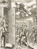 """Юнона, враждебно настроенная к Энею,  распахивает двери храма в Лации, который в мирное время должен быть закрыт. Энеида"""" Вергилия, книга VII. Лист подписного издания посвящён графу Генри Ромни"""