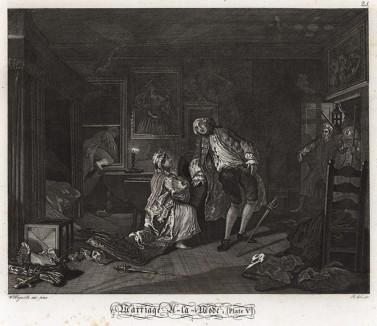 Модный брак, гравюра 5. «Дуэль и смерть графа», 1745. Граф застает супругу с любовником-адвокатом в Багнио, известном доме свиданий. Мужчины дерутся на шпагах. Граф смертельно ранен и умирает. Геттинген, 1854
