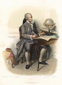 Жан Лерон д'Аламбер (1717-1783) - французский ученый-энциклопедист, член множества Академий наук. Лист из серии Le Plutarque francais..., Париж, 1844-47 гг.