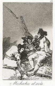 За дело, ребята! (Muchachos al avio!). Лист 11 из сюиты «Капричос» Франсиско Гойи. Отпечаток 1856 года.
