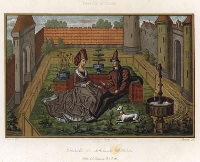 Персонаж поэм Каролингского цикла рыцарь-колдун Малагис и фея Орианда (из Les arts somptuaires... Париж. 1858 год)