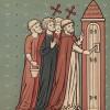 Покровитель Ирландии и Нигерии и любимый святой Джонатана Свифта Патрик показывает монахам вход в чистилище, которое он обнаружил (из Les arts somptuaires... Париж. 1858 год)