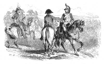 Австрийская кампания 1805 г. Император Наполеон лично вручает крест Почетного легиона одному из драгунов, отличившихся в сражении при Вертингене 8 октября 1805 г. Histoire de l'empereur Napoléon. Париж, 1840