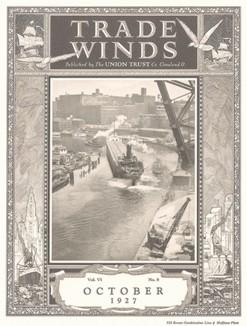 Промышленное судоходство. Обложка торгового журнала Trade Winds за октябрь 1927 года.