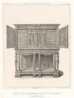 Испанский кабинет из черного дерева, XVII век. Meubles religieux et civils..., Париж, 1864-74 гг.