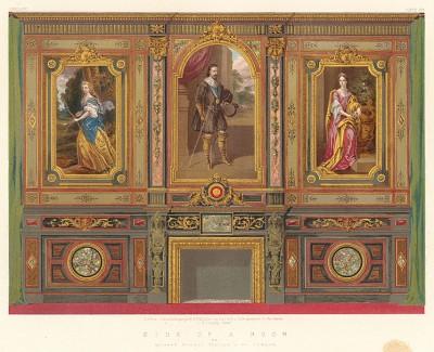 Настенные деревянные панели с росписями для каминной залы, гостиной или библиотеки от Murdie, Cowton & Co., Лондон. Каталог Всемирной выставки в Лондоне 1862 года, т.2, л.1