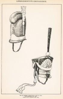 Головные уборы (каскетка и кивер) шведской пехоты начала XIX века. Svenska arméns munderingar 1680-1905. Стокгольм, 1911