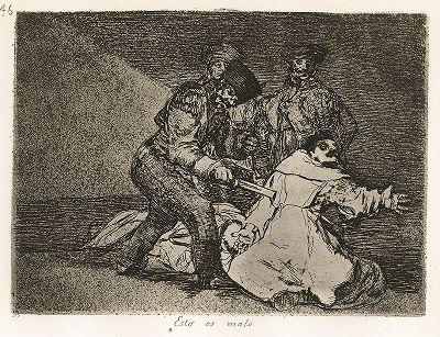 """Это скверно. Лист 46 из известной серии офортов знаменитого художника и гравёра Франсиско Гойи """"Бедствия войны"""" (Los Desastres de la Guerra). Представленные листы напечатаны в Мадриде с оригинальных досок около 1900 года."""