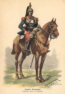 Французский кирасир в полевой форме (из альбома литографий Armée française et armée russe, изданного в Париже в 1888 году)