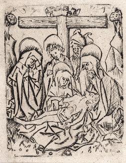 Оплакивание. Гравюра неизвестного немецкого или нидерландского мастера середины XV века.