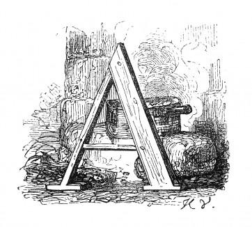 Инициал (буквица) A, предваряющий тридцать шестую главу «Истории императора Наполеона» Лорана де л'Ардеша о русской кампании 1812 года. Париж, 1840