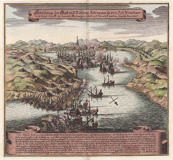 Битва Венецианского флота. Один из эпизодов Критской войны (1645-69) между Османской империей и Венецианской республикой за господство над островами Эгейского моря, в том числе над Критом.