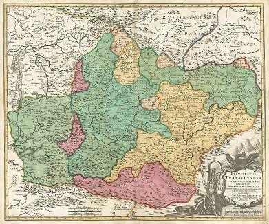 Карта княжества Трансильвания. Principatus Transilvaniæ in quinque nationes earumque regiones et comitatus cum finitimis vicinorum statuum provinciis accurate divisus.
