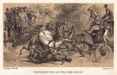 """Инцидент на дороге: столкновение двух экипажей. Пассажиры, сидевшие спокойно, не пострадали. Иллюстрация из книги Стенли Харриса """"Век экипажа"""" - The coaching age. Лондон, 1885"""