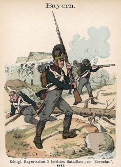 Униформа 3-го баварского батальона лёгкой пехоты (фон Бернклау) образца 1812 г. Uniformenkunde Рихарда Кнотеля, часть 2, л.33. Ратенау (Германия), 1891