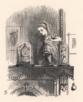Через миг Алиса прошла сквозь зеркало и легко спрыгнула в Зазеркалье (иллюстрация Джона Тенниела к книге Льюиса Кэрролла «Алиса в Зазеркалье», выпущенной в Лондоне в 1870 году)