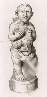 Дриллопота («карлик с большим пенисом»). Терракота, высота 1 фут 2 дюйма. Найден в Чивите близ Неаполя. Фигурка служила ручкой для ритуальной кружки. Из нее пили во время празднеств в честь Афродиты (Венеры) и Вакха (Диониса).