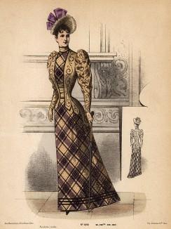 Приталенное платье в клетку с оригинальным жакетом и шляпка с лентами в тон платью. Из французского модного журнала Le Coquet, выпуск 290, 1892 год