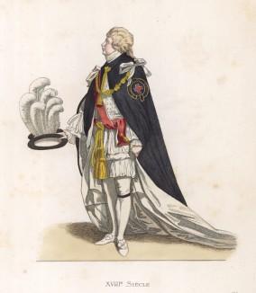 """Король Англии Георг IV (1762--1830) (лист 150 работы Жоржа Дюплесси """"Исторический костюм XVI -- XVIII веков"""", роскошно изданной в Париже в 1867 году)"""