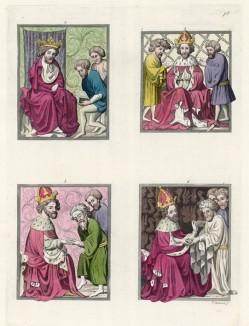 Миниатюры из Венского кодекса Золотой буллы: 1. Казначеи 2. Процедура лишения привилегий 3. Доносчики 4. Процедура официального предупреждения