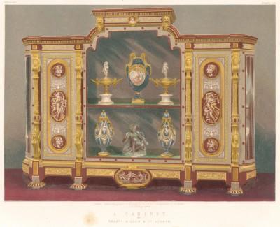 Кабинет, выполненный в греко-помпейском стиле, популярном при Наполеоне III (Каталог Всемирной выставки в Лондоне. 1862 год. Том 3. Лист 236)
